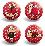 Ladybug on red badges Stock Photos
