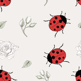 Ladybug and rose seamless pattern Royalty Free Stock Photos