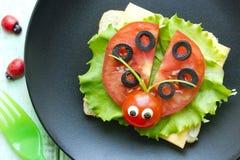 Ladybug sandwich. Creative and fun food for kids royalty free stock photo