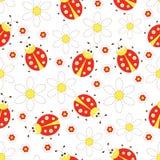 Ladybug seamless. Seamless with ladybugs and flowers Stock Image
