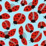 Ladybug seamless pattern design template. Red insects, ladybird background. Hand drawn illustration for kids fashion, fabric and. Wallpaper print stock illustration