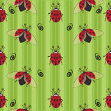 Ladybug seamless pattern. Stylized images of ladybugs on a striped background, a character of children`s cartoons. Design for textiles, tapestries, packaging Royalty Free Stock Images