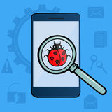 Ladybug with skulls under magnifying glass. Virus detected. Hacker Attack. The mobile phone is infected. Royalty Free Stock Photography