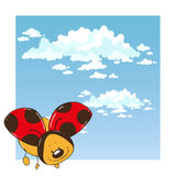 Ladybug in the sky. Cute cartoon character Stock Photos