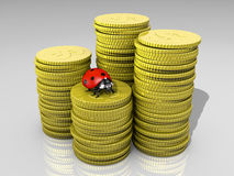 Ladybug on stack of coins Royalty Free Stock Photo