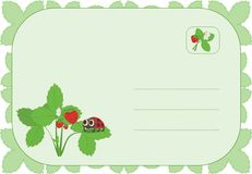 Ladybug on the strawberry. Postcard: ladybug on the strawberry. Suitable for birthday or easter stock illustration