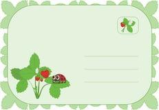 Ladybug sulla fragola Fotografia Stock