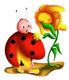 Ladybug surprise. Color illustration of a ladybug the victim of a joke by a cute daisy Stock Photos