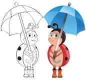 Ladybug with umbrella Royalty Free Stock Photos