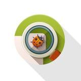 Ladybug under scrutiny icon. Stock Images