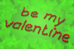 Ladybug Valentine. Ladybugs forming the words 'be my valentine'on a green background with leafs Stock Image
