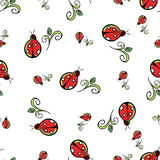 Ladybug White Pattern. Small and big colored ladybugs and leafs on the white background Stock Image
