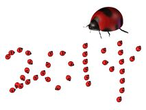 Ladybug with 2014 wording Royalty Free Stock Photos