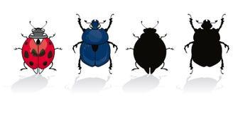 Ladybug y escarabajo Fotografía de archivo