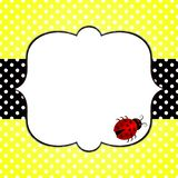 Ladybug on yellow polka dots greeting card. Invitation card with a red ladybug, yellow polka dots background and a black banner. A personal message can be Stock Image