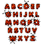 Ladybug zoo alphabet. English abc animals education cards kids Stock Images