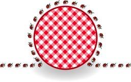 Ladybugs γύρω από το καρό πικ-νίκ ετικετών απεικόνιση αποθεμάτων