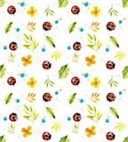 Ladybugs на луге Безшовная иллюстрация акварели иллюстрация штока