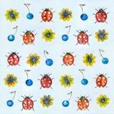 Ladybugs предпосылки акварели иллюстрация штока