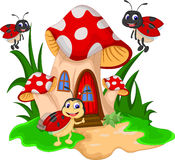 Ladybugs шаржа на грибе Стоковое Фото