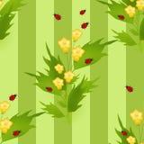 Άνευ ραφής σχέδιο με το υπόβαθρο παιδιών ladybugs και λουλουδιών Στοκ Εικόνες