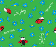 Ladybugs with blue flowers. On citronel seamless pattern for fabric stock illustration