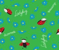 Ladybugs with blue flowers Stock Image