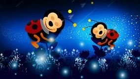 Ladybugs cartoon sleeping in beautiful night