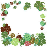 Ladybugs and clover leaves frame. Flat style vector illustration. Royalty Free Stock Photography