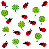 Ladybugs and cloverleafs on white background. Vector illustration Stock Photography
