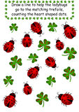 Ladybugs and Clovers - Count the dots Stock Images
