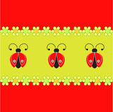 Ladybugs and Flowers Illustration, Ladybugs Card. Ladybugs and flowers illustrations on green background, red background, yellow flowers, red ladybugs, white Royalty Free Stock Photos
