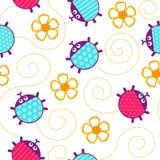 Ladybugs and flowers seamless vector pattern. Crawling yellow ladybugs and flowers seamless vector pattern stock illustration