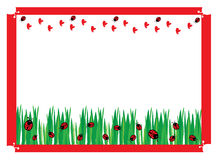 Ladybugs on green field. Hearts and ladybugs parchment  for background or wallpaper or wrap Royalty Free Stock Images