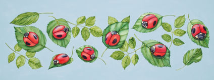 Ladybugs on Green Leaves Stock Images