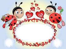 Ladybugs with heart,frame Royalty Free Stock Photos