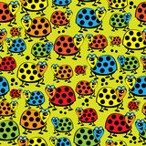 Ladybugs large and small seamless pattern Stock Image