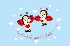 Ladybugs in love - Valentines Day. Illustration for the Valentines Day of two super-cute ladybugs in love stock illustration