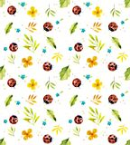 Ladybugs on the meadow. Seamless watercolor illustration stock illustration