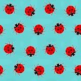 Ladybugs - old-fashioned vector pattern Stock Photo