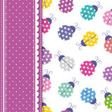 Ladybugs and polka dot greeting card Stock Images