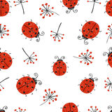 Ladybugs seamless pattern. Royalty Free Stock Image
