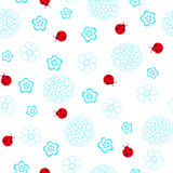 Ladybugs Seamless Repeat Pattern. Flowerss and Ladybugs Seamless Repeat Pattern Vector Illustration Background Royalty Free Stock Photography