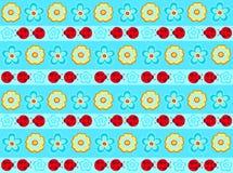 Ladybugs Stripe Seamless Repeat Pattern. Flowers and Ladybugs Stripe Seamless Repeat Pattern Vector Illustration Background Stock Image