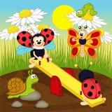 Ladybugs  swinging on swing. Vector illustration, eps Royalty Free Stock Photography