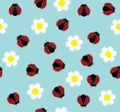 Ladybugs. Vector illustration of seamless background with ladybugs and flowers vector illustration