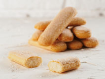 Ladyfinger τα μπισκότα μπισκότων savoiardi κλείνουν επάνω Στοκ φωτογραφία με δικαίωμα ελεύθερης χρήσης
