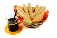 Ladyfinger - savoiardi biscuits and coffee Royalty Free Stock Photos