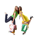 Ladys and bags on white background Royalty Free Stock Photo