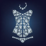 Ladys corset made from diamonds Royalty Free Stock Images